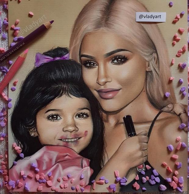 Kylie Jenner posta pintura com sua versão mini e alimenta rumores de gravidez (Foto: Reprodução/Instagram)