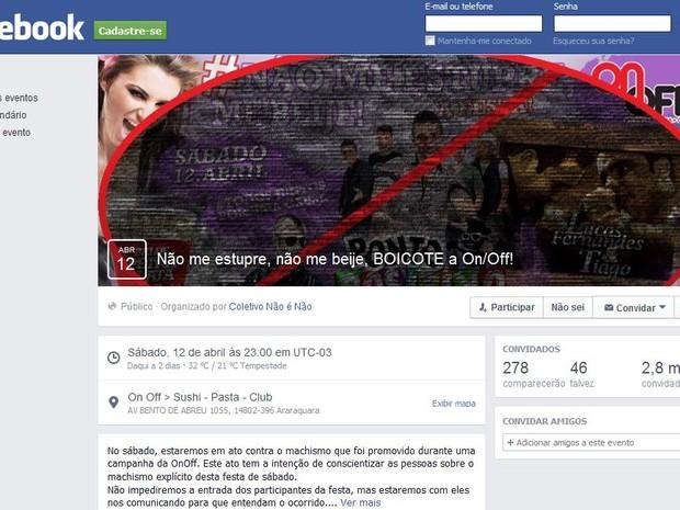 Página contra o evento foi criada em uma rede social  (Foto: Reprodução / Facebook)