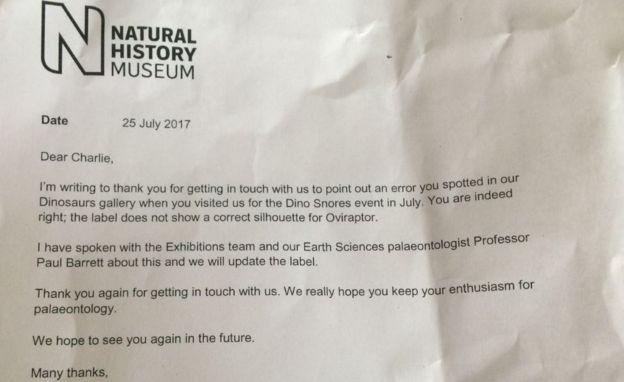 A carta enviado pelo museu a Charlie (Foto: Arquivo pessoal/BBC)