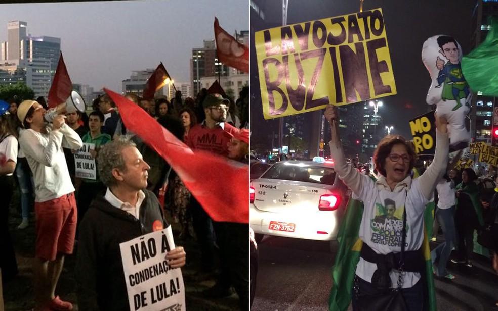 Protestos pró e contra Lula na Avenida Paulista (Foto: Vivian Reis/G1)