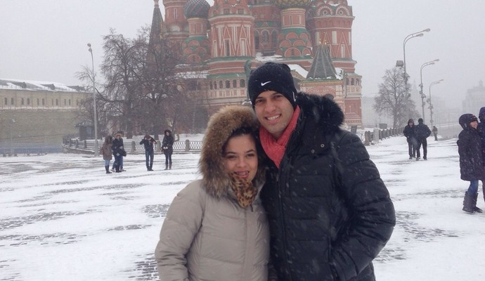 Rômulo ao lado da esposa Jéssika. Casal vai ter o segundo filho (Foto: Arquivo Pessoal / Rômulo)