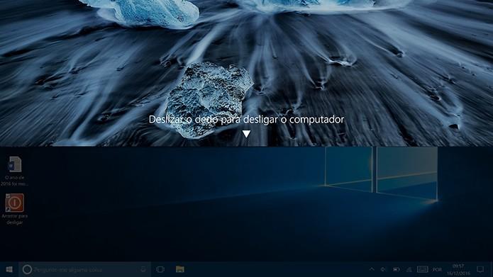 Ao clicar no ícone, Windows 10 exibirá uma aba no topo da tela para desligar (Foto: Reprodução/Elson de Souza)