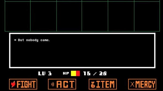 A mensagem But bobody came aparece nas batalhas de Undertale quando todos os monstros forem mortos (Foto: Reprodução/Steam)