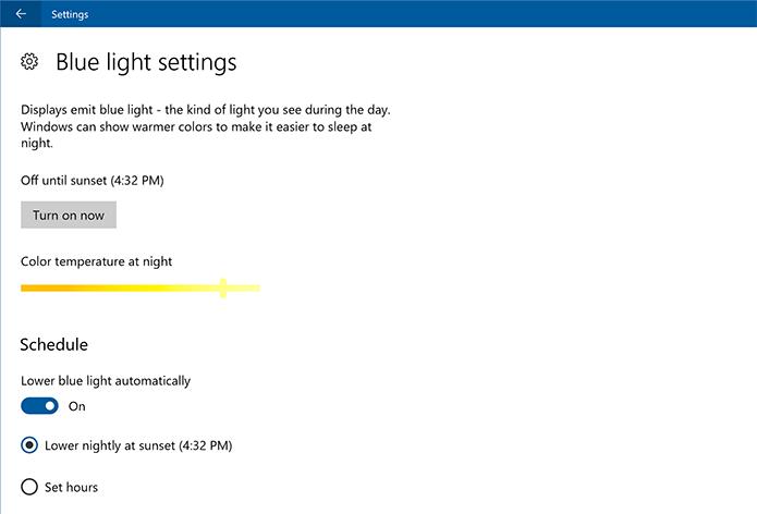 Windows 10 agora tem filtro de luz azul (Foto: Divulgação/Microsoft)