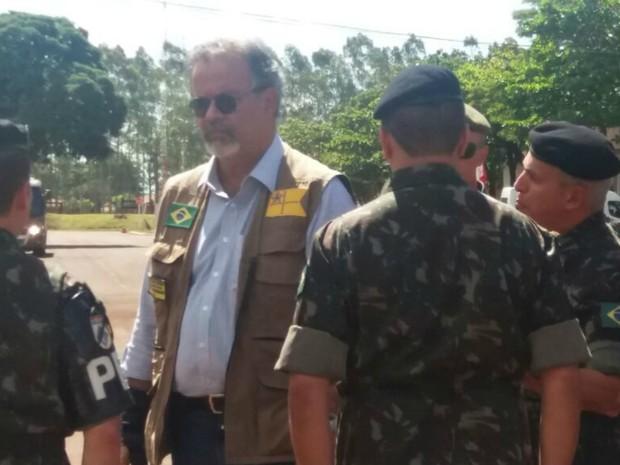 Ministro da Defesa Raul Jungmann em Dourados (MS) (Foto: Gabriela Pavão/G1 MS)