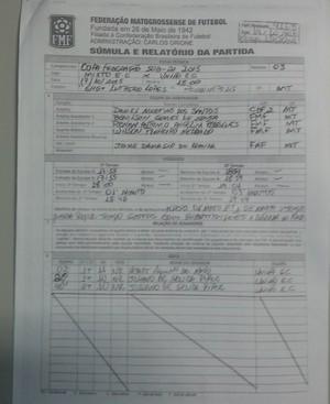 Súmula Mixto x União, Copa FMF sub-21 (Foto: Divulgação)