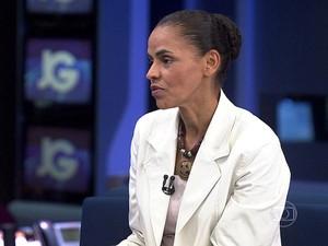 A candidata do PSB à Presidência, Marina Silva, em entrevista ao JG (Foto: Reprodução/TV Globo)