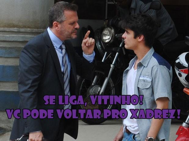 PARA TUDO! É isso mesmo? O Vitinho pode ser preso de novo??? :( (Foto: Malhação / Tv Globo)