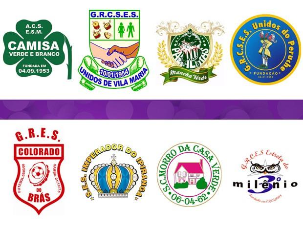 Escudos das Escolas de Samba do Grupo de Acesso de 2014 (Foto: divulgação)