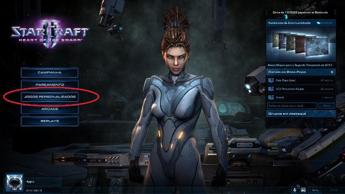 Clique em Jogos Personalizados para poder criar sua partida contra a IA (Foto: Reprodução / João Moura)