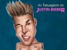 Justin Bieber tem mais de 50 tatuagens pelo corpo. Confira.