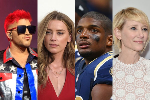 Adam Lambert, Amber Heard, Michael Sam e Anne Heche (Foto: Getty Images)