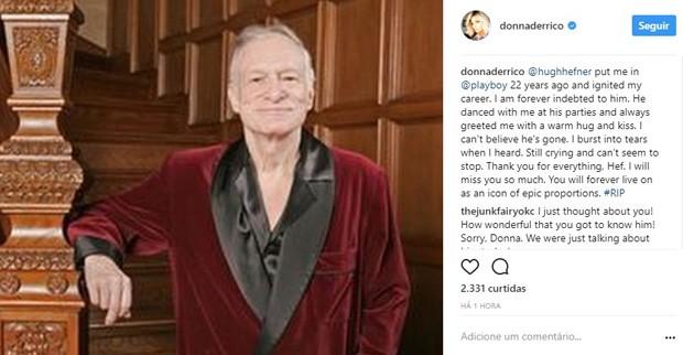 Donna D'Errico lamenta morte de Hugh Hefner (Foto: Reprodução/Instagram)