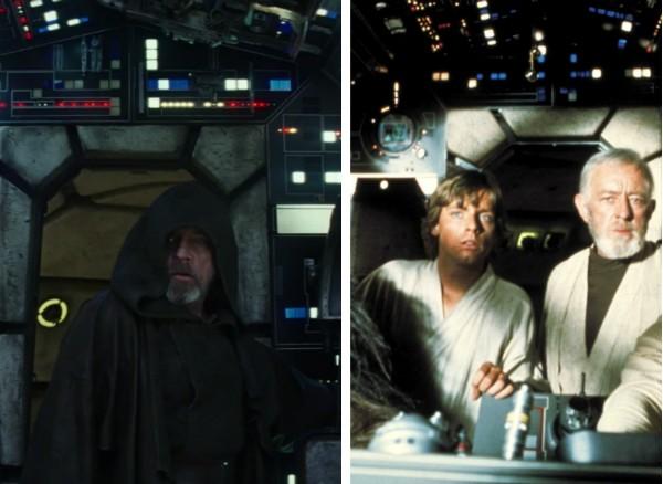 O herói Luke Skywalker dentro da Millennium Falcon no oitavo Star Wars e no primeiro filme da saga em 1977 (Foto: Reprodução)
