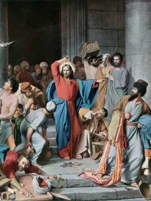 AGITADOR Jesus expulsa os vendilhões do templo. Um novo livro diz que ele não defendia a paz, mas a espada (Foto: Rischgitz/Getty Images)