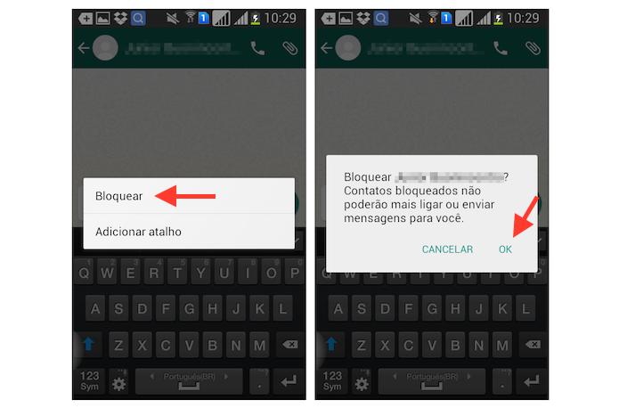 Bloqueando um contato no WhatsApp para Android (Foto: Reprodução/Marvin Costa)