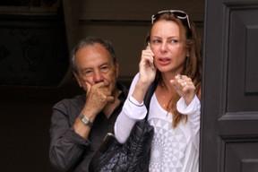 Stenio Garcia e Marilene Saade no velorio de Chico Anysio (Foto: Alex Palarea/AgNews)
