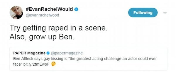 A crítica feita por Evan Rachel Wood ao comentário de Ben Affleck (Foto: Twitter)