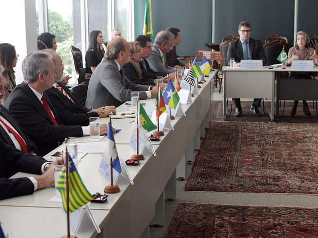 Reunião aconteceu nesta quinta (12) no Gabinete da Presidência do STF (Foto: Nelson Jr.)