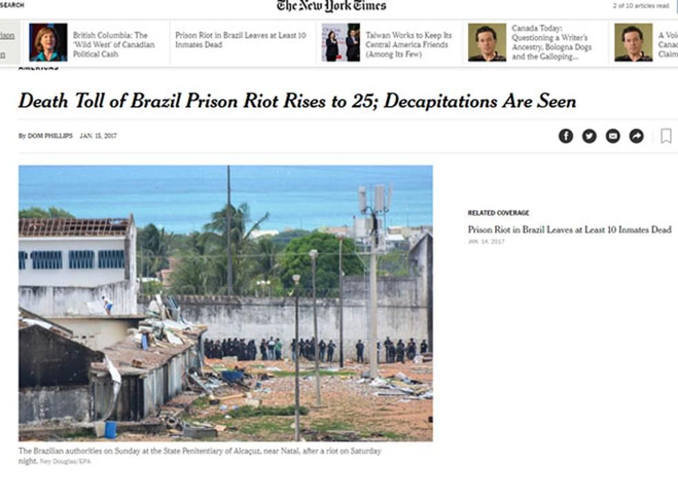 O 'New York Times' mencionou decapitações em seu título (Foto:  Reprodução/The New York Times)