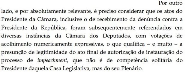 Trecho de decisão de Teori Zavaschi que negou pedido da AGU para anular processo de impeachment de Dilma (Foto: Reprodução)