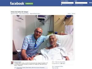Foto postada no site Facebok pelo senador Eduardo Suplicy; ele visitou Gushiken no hospital nesta semana (Foto: Reprodução)