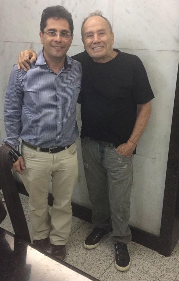 Roberto Saade e Stênio Garcia, respectivamente irmão e marido de Marilene Saade (Foto: Arquivo pessoal)