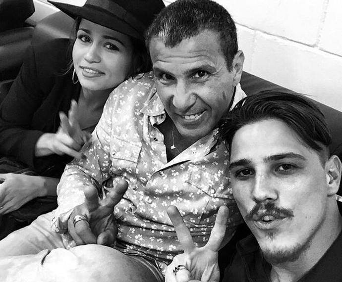 Selfie nos bastidores com Nanda Costa, Eri Johnson e Rômulo Arantes Neto  (Foto: Arquivo pessoal)