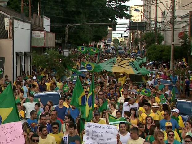 Manifestantes em Sertãozinho, SP, carregam cartazes em protesto contra a corrupção  (Foto: Márcio Meirelles/EPTV)