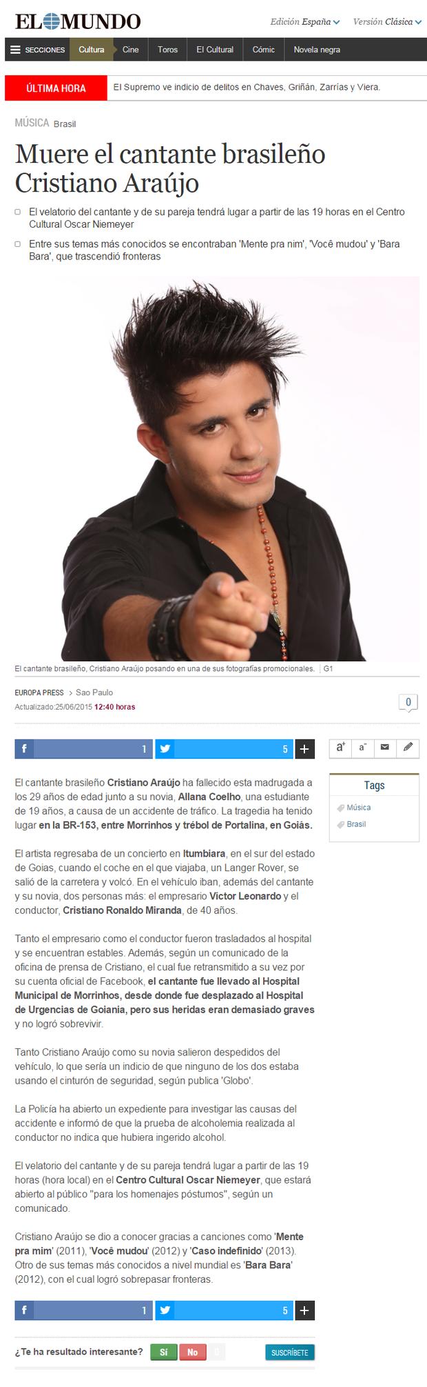 Hollywood Take repercurte  morte de Cristiano Araújo (Foto: Reprodução)