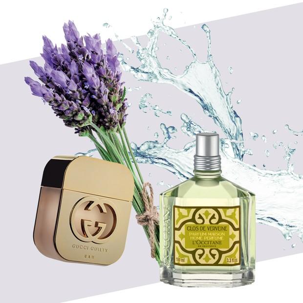 À esquerda, para a noiva, Gucci Guilty Eau, R$ 515 (75 ml). Ao lado, perfume para ambiente Verbena, R$ 156, L'Occitane (Foto: J.r. Duran/Arquivo Vogue, Thinkstock, Divulgação)