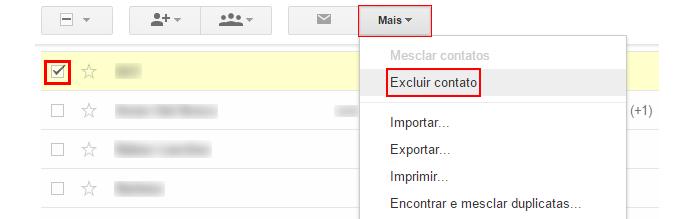 É possível excluir múltiplos contatos ao mesmo tempo (foto: Reprodução/Gmail)