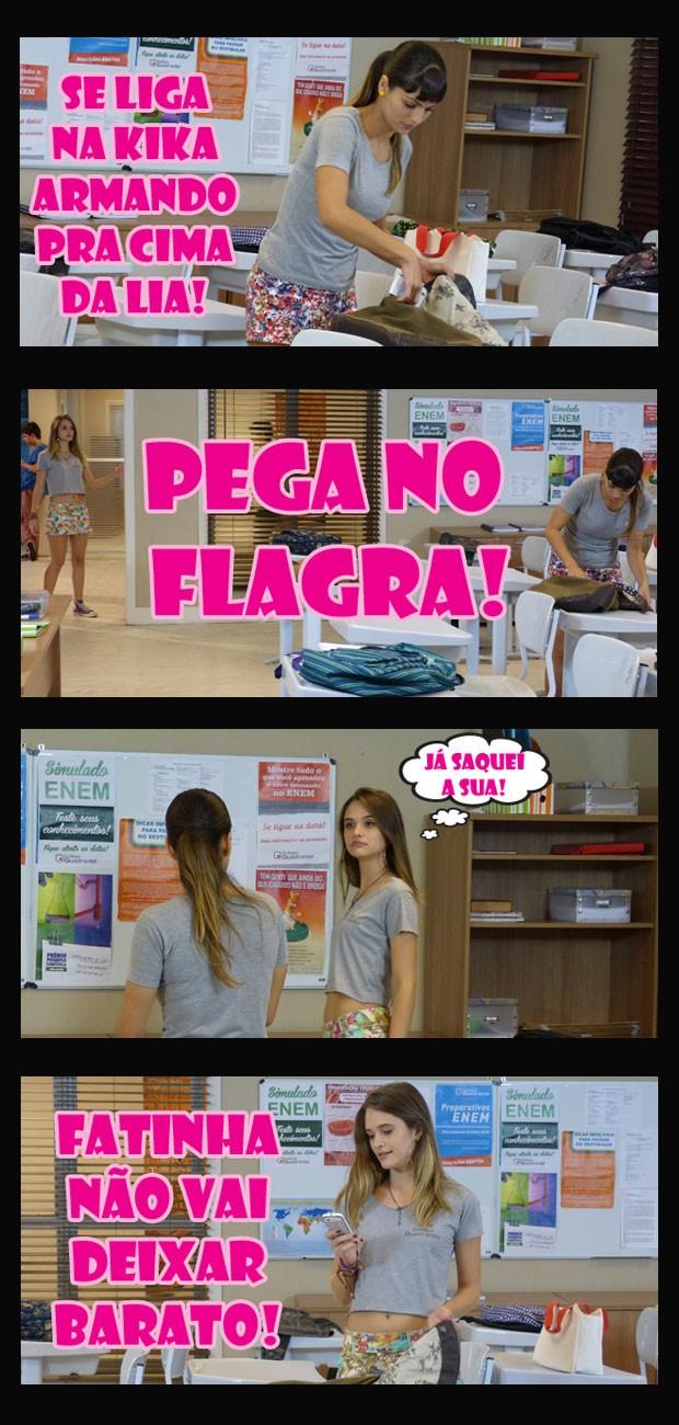 Que bandida! Mas a Fatinha não vai deixar a franjinha se dar bem não! (Foto: Malhação / Tv Globo)
