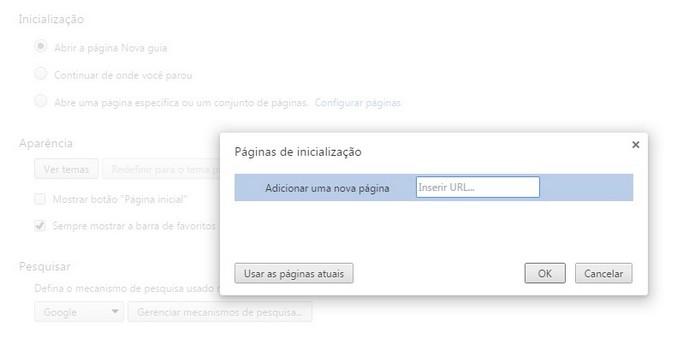 Janela para definir páginas de Inicialização no Chrome (Foto: Reprodução/Raquel Freire)