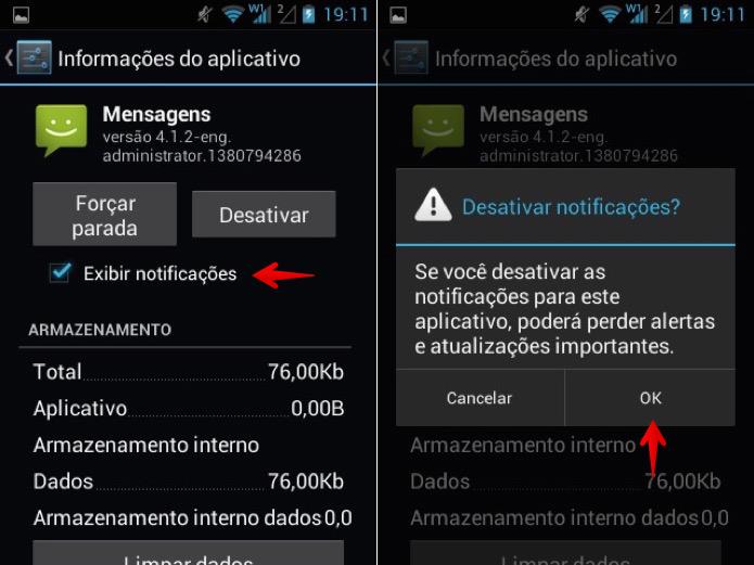 Desativando notificações de SMS do app nativo do Android (Foto: Reprodução/Helito Bijora)