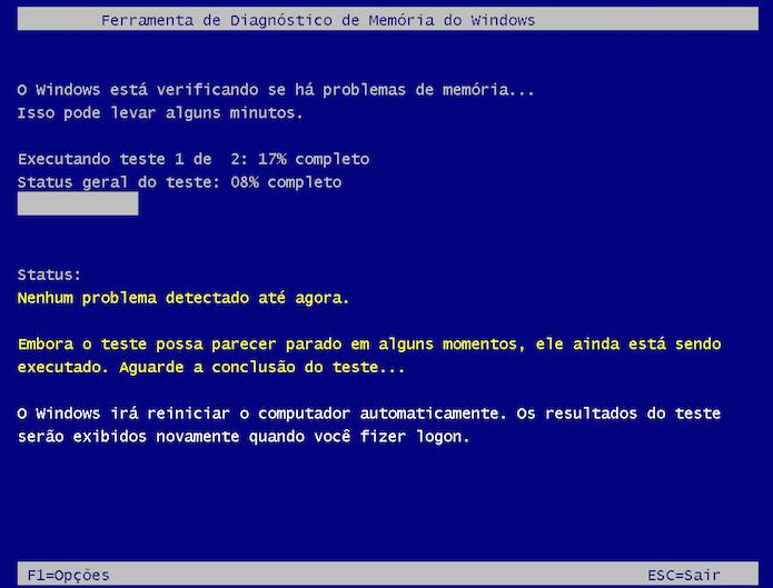 Fazendo os testes de memória depois de reiniciar o PC (Foto: Reprodução/Edivaldo Brito)