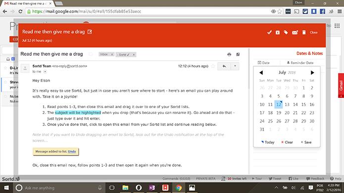 Sortd pode ter nota, lembretes e outros detalhes adicionados ao e-mail do Gmail (Foto: Reprodução/Elson de Souza)