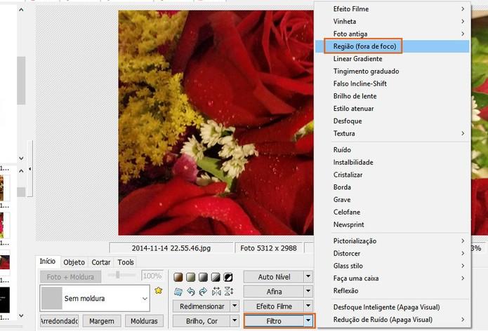 Selecione o filtro de Região fora de foco no PhotoScape (Foto: Reprodução/Barbara Mannara)
