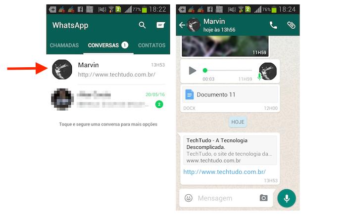 Acessando uma conversa para apagar links recebidos no WhatsApp para iPhone (Foto: Reprodução/Marvin Costa)