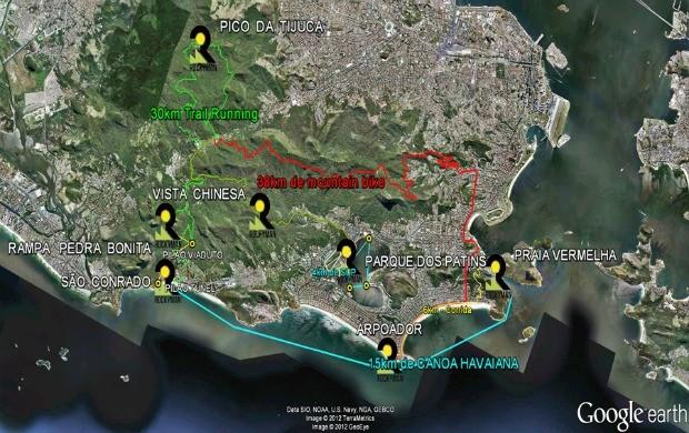 Mapa do percurso Rocky Man corrida de aventura (Foto: Reprodução/Google)