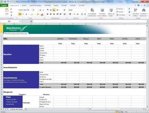 screenshot de Planilha de Orçamento Pessoal