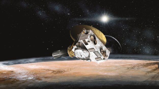 Desenho artístico da missão New Horizon orbitando Plutão (Foto: BBC)