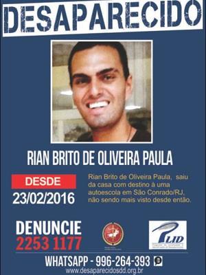 Portal dos Desaparecidos divulgou foto de Rian, netode Chico Anysio, sumido desde o dia 23 de fevereiro (Foto: Portal dos Desaparecidos / Divulgação)