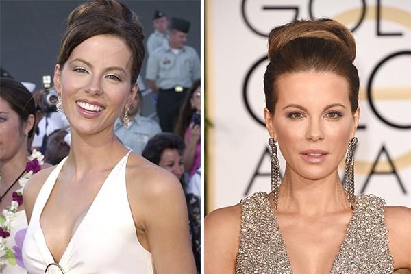 Kate Beckinsale em 2001 e agora, 14 anos depois, com 41 anos (Foto: Getty Images)