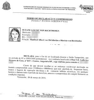 Documento saída temporária de Suzane von Richthofen (Foto: Divulgação/Secretaria da Administração Penitenciária de São Paulo)