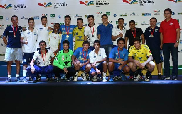 Seleção masculina de handebol escolar nas Olimpíadas Escolares em Cuiabá (Foto: Heuler Andrey/AGIF/COB)