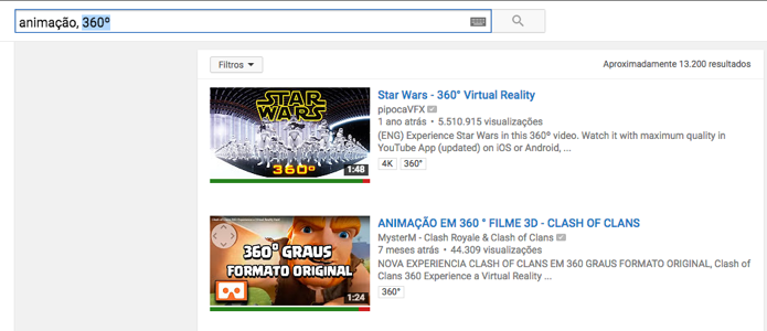 Veja apenas resultados para vídeos em 360 (Foto: Reprodução/André Sugai)