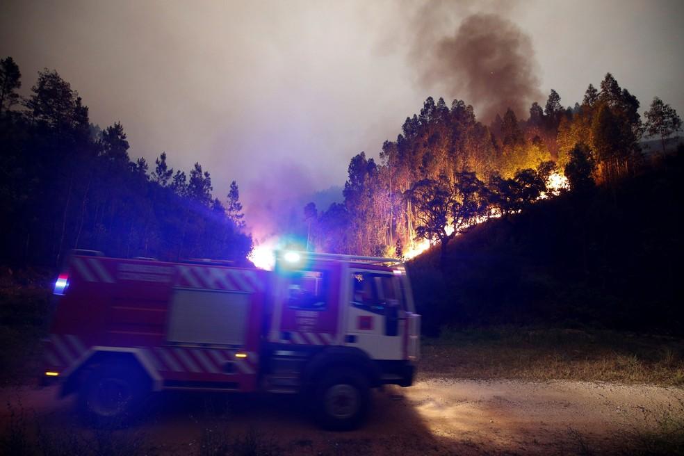 Bombeiros combatem incêndio na floresta perto de Bouca, na região central de Portugal  (Foto: Rafael Marchante/ Reuters)