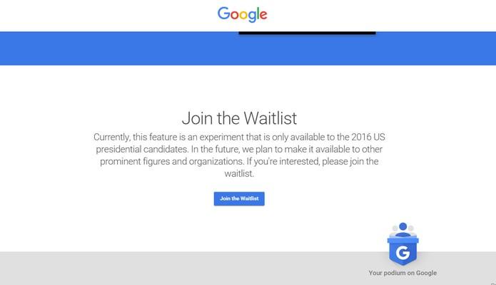 Página do Google permite preencher formulário para lista de espera (Foto: Divulgação/Google)