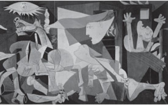 ▼ Questão 114 PICASSO, P. Guernica . Óleo sobre tela. 349 × 777 cm. Museu Reina Sofia, Espanha, 1937. Disponível em: http://www.fddreis.files.wordpress.com. Acesso em: 26 jul. 2010 (Foto: Reprodução/Enem)